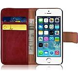 JAMMYLIZARD | Ledertasche Retro Wallet Hülle für iPhone 5 und 5S, ROT