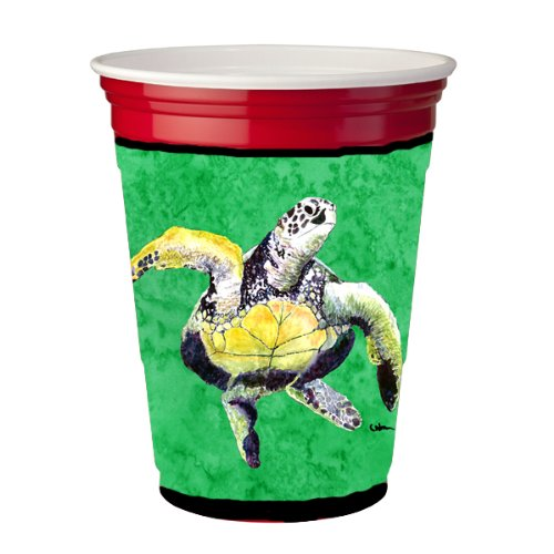 Caroline'S Treasures Turtle Dancing Red Solo Cup Koozie Hugger Made Or Printed In The Usa