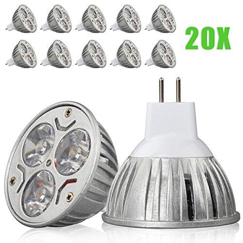 20X Mr16 3W Warm White 3 Leds Spot Light Bulb Lamp 12V 3W=40W 3X1W Spot Light Downlight Bulb Light