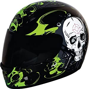 Nikko Smoking Gun Black Green Full Face Motorcycle Helmet