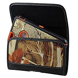 XXL SIZE Motorola DROID Turbo 2 / MAXX 2 Camouflage Rugged Heavy Duty Horizontal Holster Pouch with Belt Clip Case Cover (Fits OTTER BOX Defender / LIFEPROOF / Mophie Juice Pack Air/Plus Case On)
