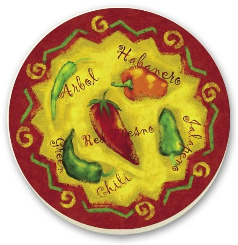 CounterArt Spicy Chili Peppers Round Stone Trivet, 6-Inch