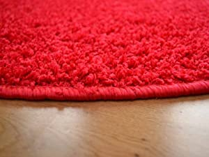 Cargo Circular Red Shaggy Pile Rug. Available in 5 Sizes by Rugs Supermarket