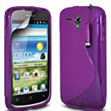 Gadget Giant Huawei Ascend G300 Purple S Line Gel Grip Silicone Case Cover & LCD Screen Protector & Touch Stylus