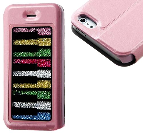 Mylife Light Pink And Rainbow Piano {Crystal Chic Design} Textured Koskin Faux Leather (Card And Id Holder + Magnetic Detachable Closing) Slim Wallet For Iphone 5/5S (5G) 5Th Generation Smartphone By Apple (External Rugged Synthetic Leather With Magnetic