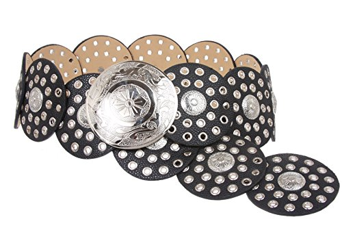 "BELTISCOOL 3 1/2"" (90 mm) Wide Boho Discs Concho Leather Belt Size: L - 45 END-TO-END Color: Black"
