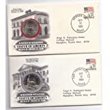 Set of Two(2): The Statue of Liberty Half Dollar(one D Mint one SF Mint) and Matching Commemorative Cover