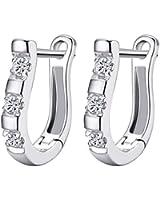 1 Pair Chic 925 Sterling Silver Lady White Gemstones Women's Hoop Earrings 0489
