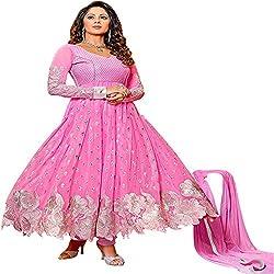 Prachi Silk Mills Women`s Georgette Embroidered Semi-stitched Salwar Suit Dupatta Material(Pink)
