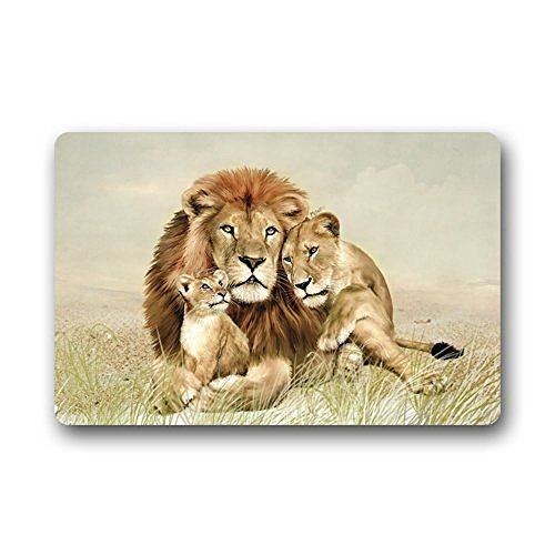 TSlook Fashions Doormat Lion Family Three Lions Indoor/Outdoor/Front Welcome Door Mat(23.6