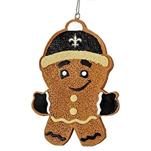 "New Orleans Saints Official NFL 3.5"" Gingerbread Man Christmas Ornament"