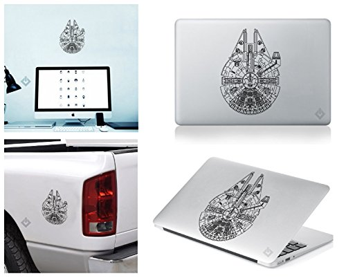 Millennium Falcon STAR WARS Sticker Decal for Macbook, Laptop ,Car Window, Laptop, Motorcycle, Walls, Mirror and More. (Starter Star Shorts compare prices)
