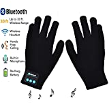 Bluetooth Gloves, Wireless Bluetooth Gloves, Winter Gloves with Hands Call Talking & Music & Touch Screen Knit Warmer Gloves for Outdoor Sports, Running, Walking, Christmas Gifts (black)
