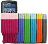 Mobilizers: Pack of 6 Stylish Soft Mobile Phone Socks For Nokia C3-00 / C6 / C6-01 / C7 / E5 / N97 Mini / N8 / X3-02 / X6 / X7 - Color Includes ( Blue / Gray / Green / Orange / Pink / Purple )