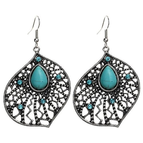 Yazilind Tear Tibetan Silver Turquoise Drop Dangle Earrings with Crystal length:2.5In