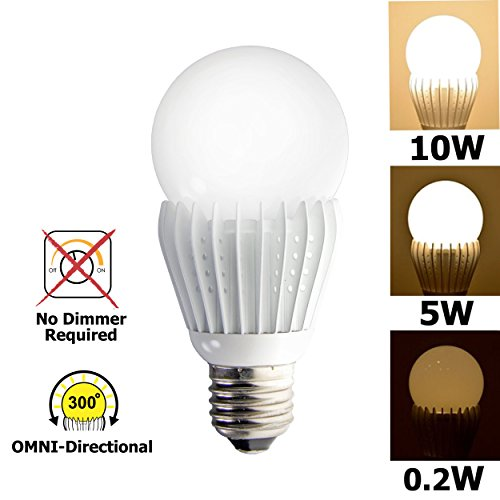 3 Switchable Led Lighting Levels Of 10W/5W/0.2W (No Dimmer Required), A19 Medium Base Dimmable Soft White, 60W Equivalent Incandescent Bulb, For Type E26, E27 Led Light Bulb, 900Lm, Color Temperature 3000K
