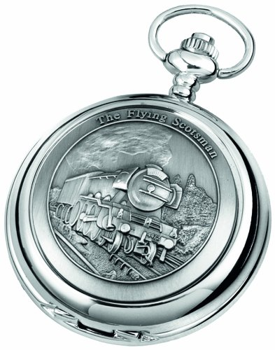 Woodford Quartz Pocket Watch, 1893/Q, Men's Chrome-Finished Flying Scot Pattern with Chain (Suitable for Engraving)