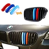iJDMTOY Exact Fit ///M-Colored Grille Insert Trims For BMW F10 F11 5 Series 528i 535i 550i with M-Performance Black Kidney Grill (12 Beams)