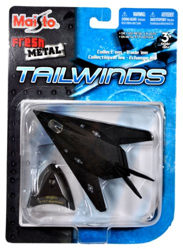 Maisto Fresh Metal Tailwinds 1:150 Scale Die Cast United States Military Aircraft - U.S. Air Force Stealth Ground Attack Aircraft F-117 Nighthawk with Display Stand (Dimension: 3-1/2