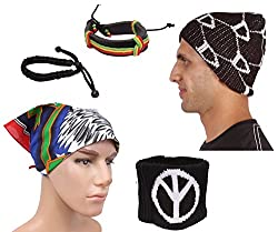 Sushito Fancy Multi Colour Warm Woolen Cap With Stylish Headwrap & Wrist Band