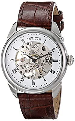"Invicta Men's 17185SYB ""Specialty"" Stainless Steel Mechanical Hand-Wind Watch With Brown Leather Band"