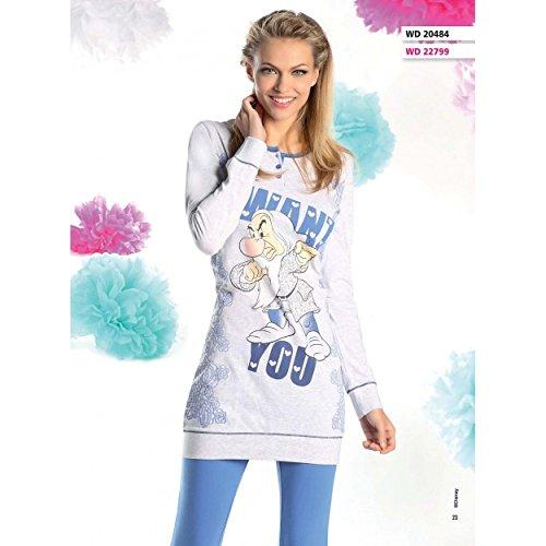 Pigiama Donna Disney Brontolo Maxi Maglia Leggings Misura S-M-L-XL Grigio 20484