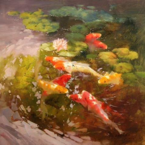 Perfect Effect Canvas ,the High Quality Art Decorative Canvas Prints Of Oil Painting 'Carps In The Lotus Pond', 24x24 Inch / 61x61 Cm Is Best For Gift For Relatives And Home Decor And Gifts (Bracket For A Eagle Depth Finder compare prices)
