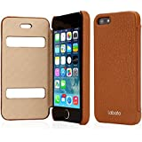 Labato Apple iPhone 5 / 5S Leather Case Cover Compatible with IOS 7 - New Luxury Handmade Genuine Leather Carrying Folio Case Protective Case Shell Skin with Windows / Cutouts to Show Time and Incoming Calls - Retail Packaging - Lbt-IP5-15C20 + Brown