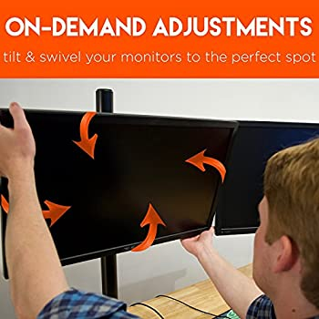 "ECHOGEAR Triple Monitor Desk Mount Stand For Screens Up To 27"" - Height-Adjustable For Comfortable Gaming & Work - Works With 3 Vertical Or Horizontal Monitors - Perfect For Array-Style Gaming"