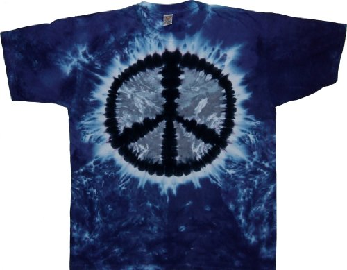 Tie Dyed Shop Pale Moon Peace Sign Tie Dye T Shirt-Shortsleeve-Medium-Multicolored
