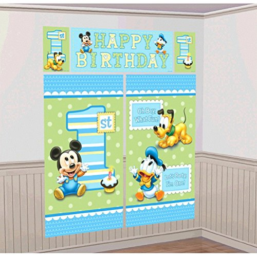 Mickey Mouse 1st Birthday Scene Setters Wall Decorating Kit