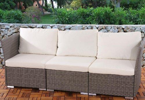 3er Sofa 3-Sitzer Siena Poly-Rattan, Gastronomie-Qualität ~ grau mit Kissen in creme