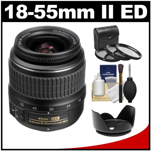 Nikon 18-55Mm F/3.5-5.6G Ii Dx Af-S Ed Zoom-Nikkor Lens With 3 Filters + Hood Kit (Refurbished By Nikon Usa)