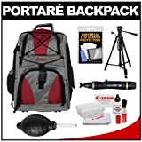 Portare Multi-Use Laptop/iPad/Digital SLR Camera Backpack Case (Gray/Maroon) with 57