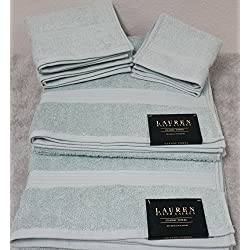 Ralph Lauren Classic 6 Piece Bath Towel Set - 100% Cotton - Seafoam Green