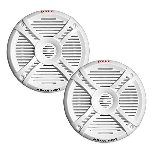Pyle Dual 6.5'' Water Resistant Marine Speakers, 2-Way Full Range Stereo Sound, 250 Watt, White (Pair)