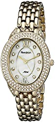 Armitron Women's 75/5254MPGP Swarovski Crystal Accented Oval Gold-Tone Bracelet Watch