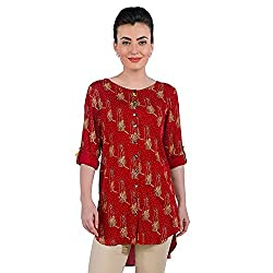 Funk For Hire Women Rayon Katputli printed Shirt Tunic (Deep Red, Size L)
