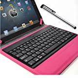 Lumsing Removable Keyboard, Case and Stand + Stylus Pen For Apple iPad 2, iPad 3 (The New iPad 3), iPad 4 (4th Gen)-Magnetic Smart Cover Leather Case Stand With Wireless Bluetooth Keyboard-Premium Keyboard Folio Case Cover for For Apple iPad 2/3/4 (Rose)