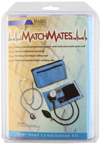 Matchmates Aneroid Sphygmomanometer And Dual Head Stethoscope Combination Kit With Calibrated Nylon Cuff, Purple front-35517