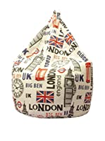 Home & Order Puff Grande London Beige/Rojo