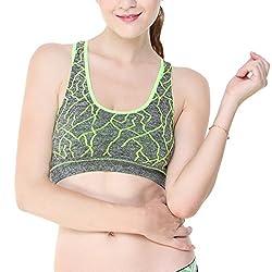 Glus Zig Zag Pattern Incredible Green Sports Bra (with Sweating Absorbing Fabric) (B, Small)