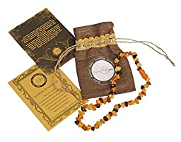 Baltic Amber Teething Necklace For Babies (Unisex)- Drooling Problem & Pain Reduce Properties. Certification Guaranteed - Nature Made - Highest Quality Handmade Jewelry. Mothers Approved Remedies.
