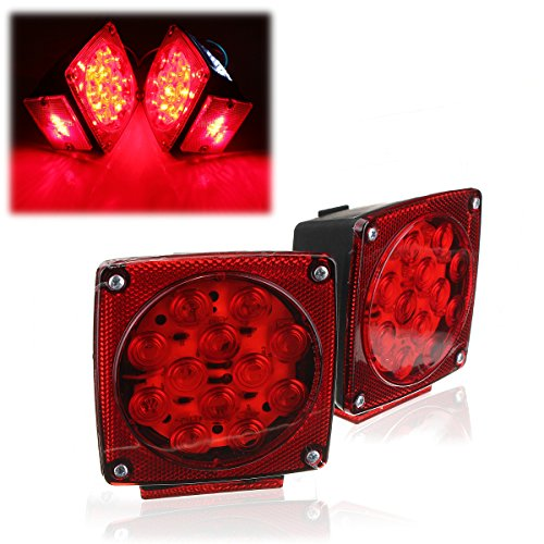 AUDEW Pair Square LED Tail Brake Light Side Marker Boat Trailer (Green Led Brake Lights compare prices)