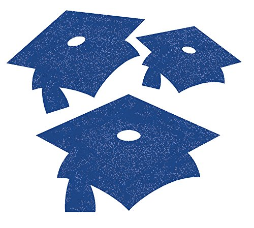 Creative Converting 12 Count Glitter Graduation Cap Cutouts, Mini, Blue