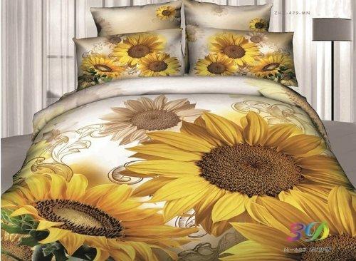 Queen Size 100% Cotton 4-Pieces 3D Big Yellow Sunflowers White Floral Prints Duvet Cover Set/Bed Linens/Bed Sheet Sets/Bedclothes/Bedding Sets/Bed Sets/Bed Covers/5-Pieces Comforter Sets (5) front-935604