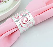 buy Derker Napkin Rings For For Wedding, Party, Holiday, Dinner,Set Of 6,Hollow Out Half Open Round (Silver)