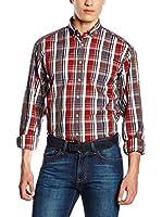 Otto Kern Camisa Hombre (Marrón / Azul / Rojo)