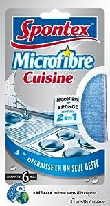 Spontex - Ménage Lavette - Microfibre Cuisine x 1 - Lot de 2