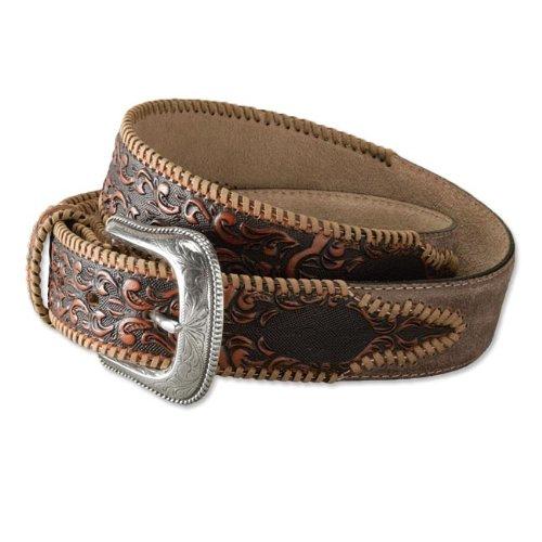 Tooled-leather Western Belt, 38